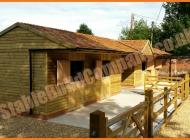 Cedar shingles horse stables in Staffordshire